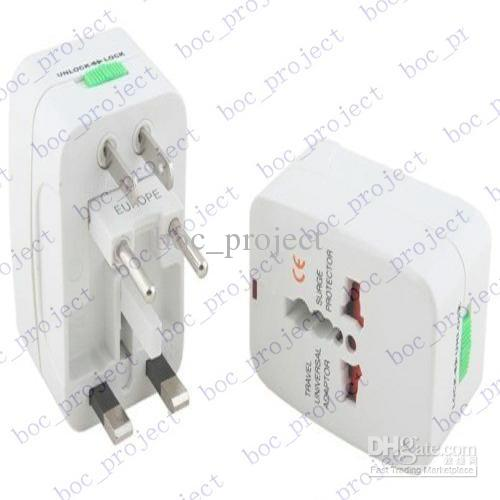 Universal World All-in-one Travel AC adaptador de corriente convertidor a US / UK / AU / EU Plug 10 unids / lote CN post