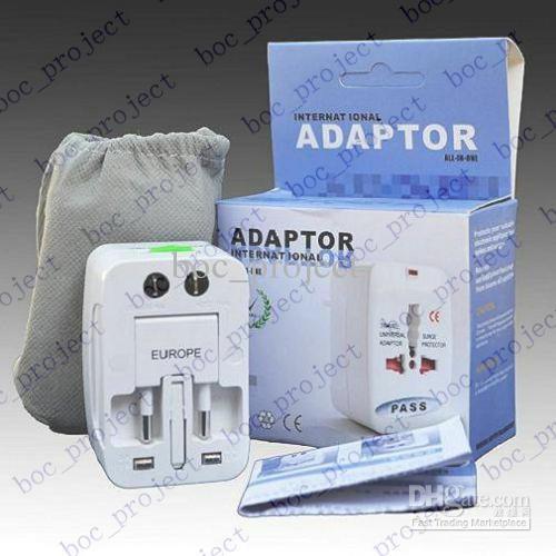 Universal World All-in-one Conversor de Viagem AC Power Adapter para EUA / REINO UNIDO / AU / UE Plug 10 pçs / lote pós CN