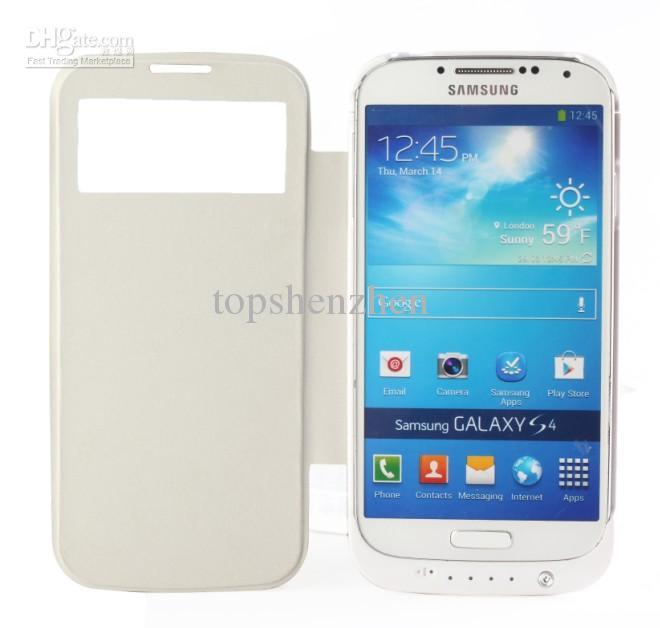 3200mAh Extern Backup Batteriladdare Case Flip Leather Case Power Bank för Samsung Galaxy S4 i9500