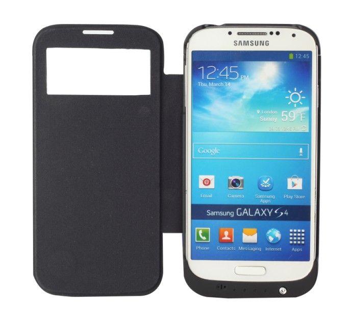 3200mAh externe Unterstützungsladegerät-Fall-Schlag-Leder-Kasten-Energien-Bank für Samsung Galaxy S4 I9500