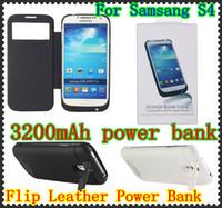 cas chargeur de banque pour samsung achat en gros de-3200mAh chargeur de batterie de secours externe étui en cuir étui de banque de puissance pour Samsung Galaxy S4 I9500