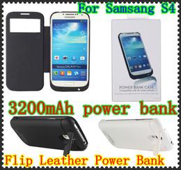 Venta al por mayor de 3200mAh caja de batería de respaldo externo del tirón del banco de la caja de cuero del tirón para Samsung Galaxy S4 I9500