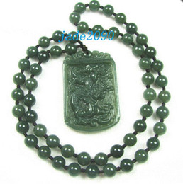 Wholesale Jade Carving Amulet - Free Shipping - 2012 Year Good luck Amulet Natural dark green Jadeite Jade carved dragon beaded jade necklace