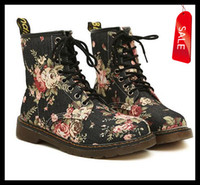 Wholesale Winter Sexy Cloth - On Sale Women's Sexy Floral Prints Cloth Upper 8 Holes Martin Boots,Sexy Flower Winter Knight Boots size 35 to 39