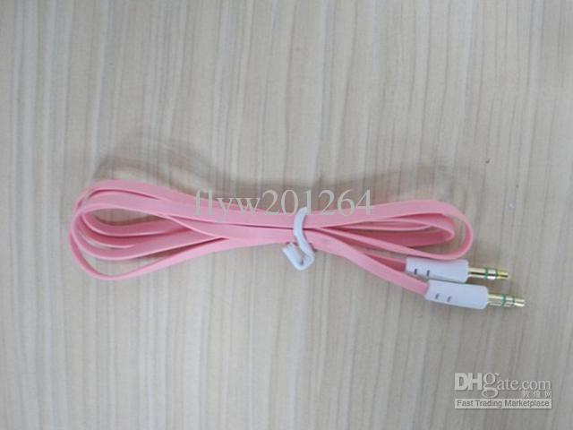 Colorido 3.5mm macho M / M estéreo enchufe Jack Audio Noodle cable de extensión plana DHL envío rápido, /