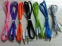 câble de rallonge plat pour nouilles achat en gros de-Coloré 3.5mm Mâle M / M Stéréo Plug Jack Audio Noodle Plat Extension Câble DHL Expédition rapide, 200pcs / lot
