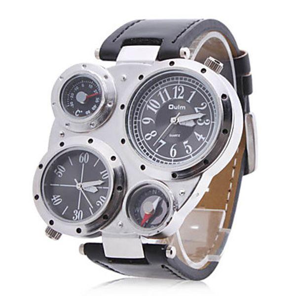 Atacado OULM Dual 2 Fusos Horários Relógio de Quartzo Analógico Bússola Termômetro Militar Men Sport Relógios de Pulso de Couro Preto Relógio de Pulso Ao Ar Livre