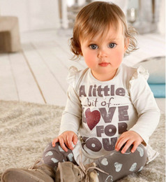 $enCountryForm.capitalKeyWord Canada - Cute! Baby Girls Long Sleeve Letters Printed White T-Shirt Top+White Hearts Pants 2PCS Set Children Clothing Set Kids Autumn Clothes Outfits