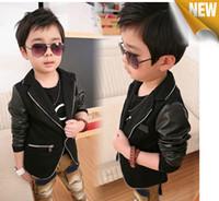 Wholesale Leather Boy Suit - Wholesale - Children Boys Black Stunning Party Suit Cool Boy Autumn Leather Long Sleeve Metallic Zipper Solid Plain Outwears 5p l