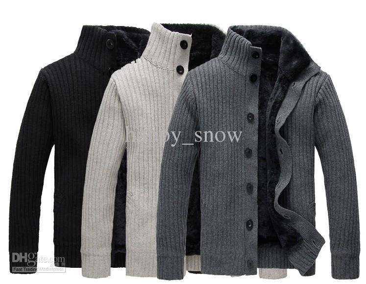 Maglioni di cardigan a maniche lunghe a maniche lunghe casual moda uomo inverno nuovi