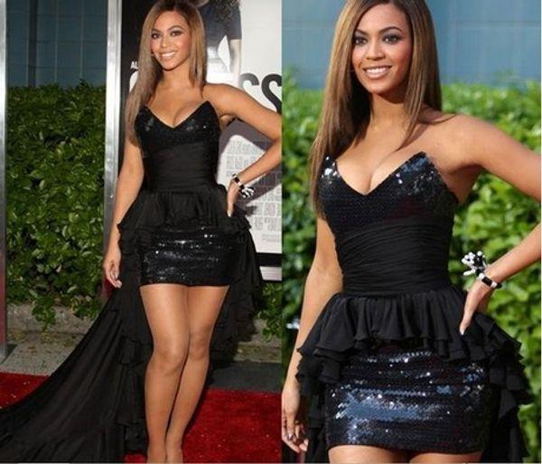 Designer de vestidos de noite Hi-Lo Frente Curto Longo Voltar Preto Chiffon Lantejoulas V-neck Bainha Strapless Beyonce Celebrity Dress