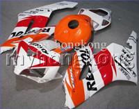 kit de carenado repsol blanco al por mayor-Repsol naranja para HONDA CBR 600 600RR CBR600RR 05 06 rojo CBR600 RR F5 100% Inyección CBR600F5 05 06 2005 2006 NUEVO kit de carenado blanco + 7gifts