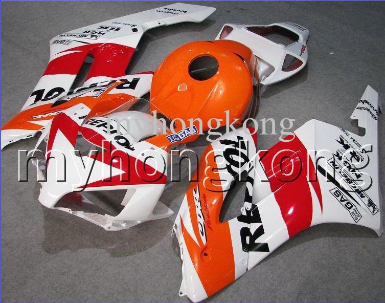 Repsol naranja para HONDA CBR 600 600RR CBR600RR 05 06 rojo CBR600 RR F5 100% Inyección CBR600F5 05 06 2005 2006 NUEVO kit de carenado blanco + 7gifts