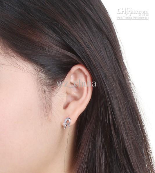 Swiss Diamond Stud Earrings Ladies S925 Sterling Silver 30% White Gold Overlay Earring for Women Fine Jewelry