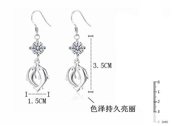 Çift yunus düğün küpe damızlık İsviçre elmas 925 ayar gümüş kadınlar için% 30% beyaz altın kaplama küpe