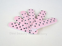 Wholesale Sandpaper Pattern - emery file 100PCS LOT emery board pink dots pattern sandpaper mini nail file nail art FREE SHIPPING #SC0331-07