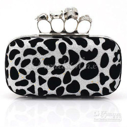 Wholesale Leopard Knuckle Ring - Wholesale - 2013 HOT SALE FREE SHIPPING Silver Leopard Skull Knuckle Duster Clutch Rhinestone Four Ring Cocktail