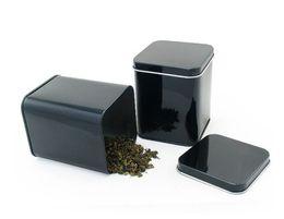 Wholesale Tea Tin Can Box - 70x70x93mm black tea tin box rectangle tea tin box food tin can square metal box for tea packing tea storage tin can