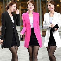 Wholesale Slim Dresses Korea - A118 free shipping2017girl women new fashion korea 2 colors medium long design casual dress suits blazers ladies autumn winter trench coats