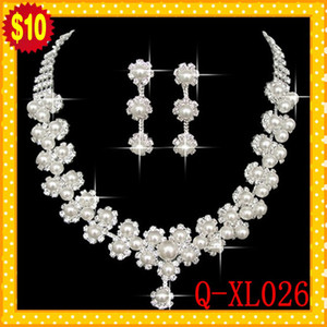 Wholesale STOCK Romantic Pearl Designer With Crystal Cheap Two Pieces Earrings Necklace Rhinestone Wedding Bridal Sets Jewelry Set Jewerly