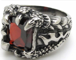 Wholesale Mens Biker Style Ring - Lots Top Quanlity New Style Mens Biker Red zircon Ring 316L Stainless Steel Motorcycle Flame DRAGON CLAW Rings