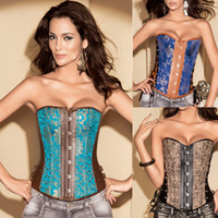 Wholesale Fix Eyes - Sexy Ladies Women's Boned Corset tops Steel Hook Eye Fron & Side Double Fix Satin Floral Desinger Overbust Lace Up 5 Sizes 598 Free Ship