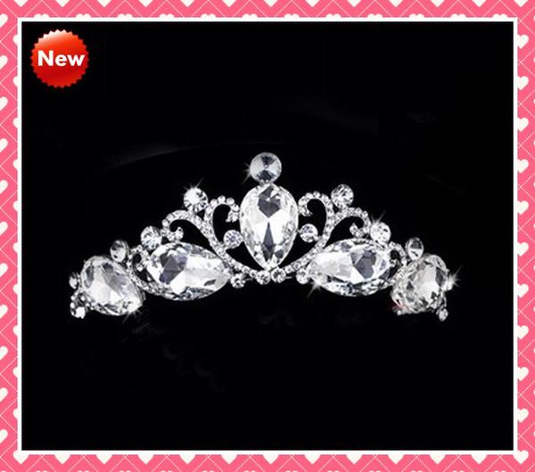 STOCK 2019 New High Quality Fashion Designer With Crystals Royal Rhinestone Tiara Hairpiece Crowns Wedding Bridal Tiaras Tiara Crowns Crown