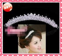 Wholesale Modern Tiaras - STOCK 2017 Free Shipping Shiny Rhinestone Modern Designer Crystals NEW Tiara Hairpiece Crowns Wedding Bridal Tiaras Tiara Crowns Crown