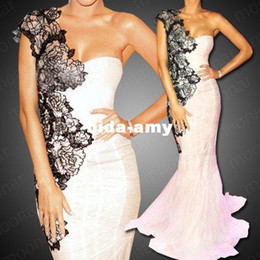 Wholesale Evening Ceremony Dress - One Shoulder Pink A-Line Lace Flower Evening Prom Ball Gown Party Mermaid Ceremony Dress Fishtail LF076