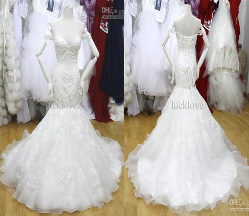 Wow New Cathedral Bridal Dress Off The Shoulder Mermaid Trumpet