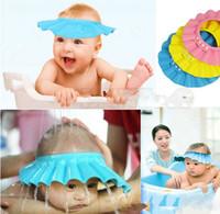 bebek saç duş kalkanı toptan satış-Ayarlanabilir Duş cap bebek sağlığı için Banyo Şampuanı korumak banyo su geçirmez kapaklar şapka çocuk çocuk çocuk Yıkama Saç Kalkanı Şapka