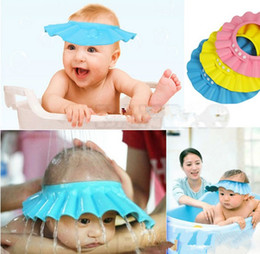 Wholesale Wholesale Shower Caps - Adjustable Shower cap protect Shampoo for baby health Bathing bath waterproof caps hat child kid children Wash Hair Shield Hat