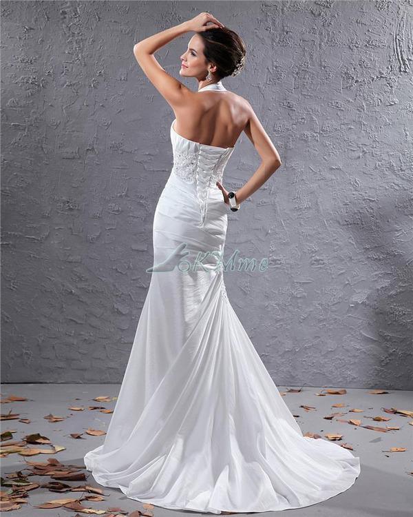 Nuevo blanco libre del envío de la sirena de la boda vestidos de corte halter Tren cola de pescado Lencería Apliques de las lentejuelas vestido AW-2