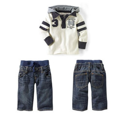 Wholesale Kids White Leisure Suit - Retail Baby Boys White Long Sleeve Hooded T-Shirt Top + Blue Jeans 2Pcs Set Children Casual Costume Kids Leisure Suits Clothing Outfits