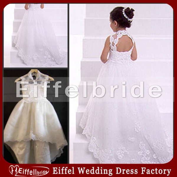 White Ivory High Neck Open Back Lace Fairy Princess Flower Girl Dresses Lace Appliques Kids Formal Wedding Party Gowns Train Beads for Girls