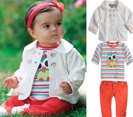Wholesale Owl T Shirt Kids - Retail Winter Baby Girl's Owl Stripes Long Sleeve Jacket Coat+T-Shirt Top+Pants 3pcs Sets Clothes Children Clothing Set Kids Outfit Suit