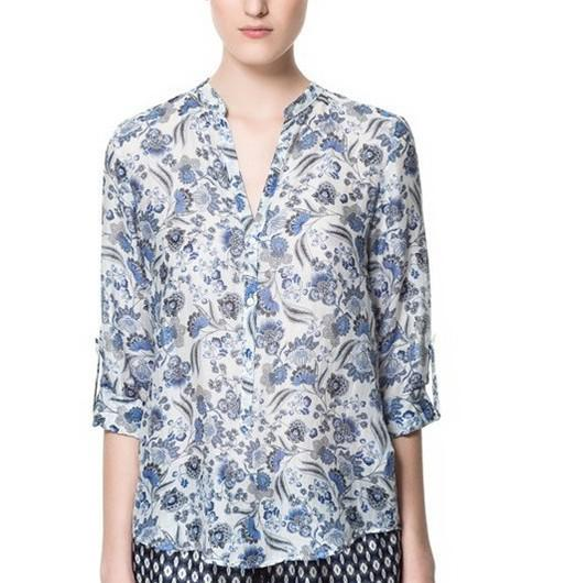 Ladies Cotton Blouses Euro Style Women's Blue Flower Blouse Long ...