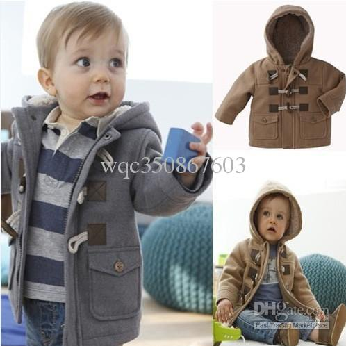 popular design largest selection of 2019 2019 original Retail Fashion Winter Toddler Boys Baby Horn Button Heavy Fleece Hooded  Coat Jacket Kids Thickening Outerwear Children Overcoat Girls Black Coats  ...