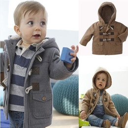 Wholesale Overcoat Baby Hooded - Retail Fashion Winter Toddler Boys Baby Horn Button Heavy Fleece Hooded Coat Jacket Kids Thickening Outerwear Children Overcoat