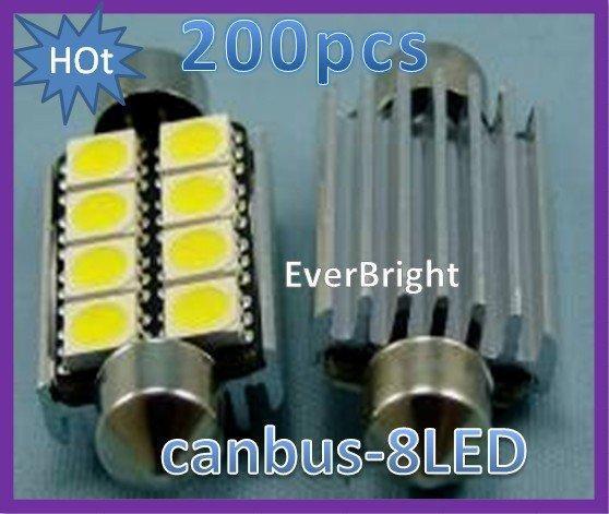100pcs canbus 8 SMD 41mm 5050 3 puces 8 led AUCUNE erreur OBC Festoon Lampe Éclairage Intérieur + qualité A +++