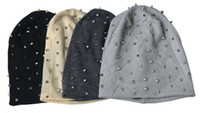 Wholesale Skulls Stud Rivets - 1PC Khaki Black Grey Dark Grey Unisex Hip-hop Style Baggy Beanie Spike Studs Rivet Cap Hat