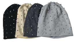 Wholesale Skull Spikes - 1PC Khaki Black Grey Dark Grey Unisex Hip-hop Style Baggy Beanie Spike Studs Rivet Cap Hat
