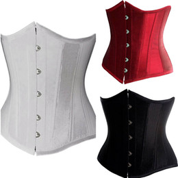 Wholesale String Lacing - Free Shipping Girl's Women's Underbust Corset tops with free Tong G-string silky Satin Plus Size Lacing Up Black white red colors 637