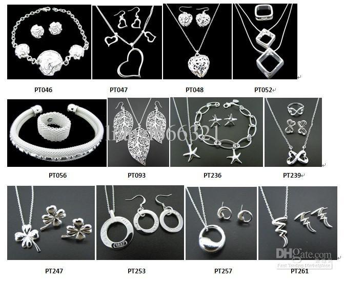 Frete grátis com número de rastreamento Nova moda Mulheres encantadoras jóias 925 Silver 12 misturar conjunto de jóias