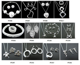 Wholesale 925 Silver Necklace Earrings - Free Shipping with tracking number New Fashion women's charming jewelry 925 silver 12 mix jewelry set
