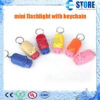 Wholesale Led Mini Pig Keychain Flashlight - 500Pcs Novelty 2 LED Light Pig Flashlight Keychain Mini Torch Key Chain Holder with opp bag,Free Shipping! wu