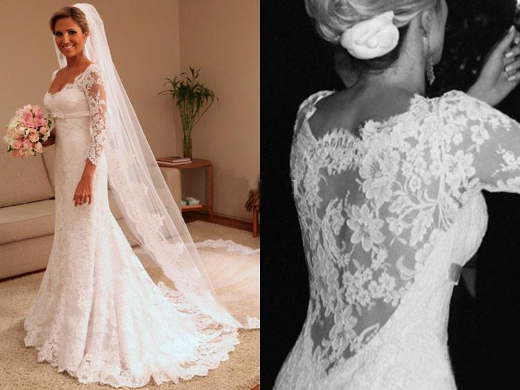 Discount High Quality Lace 3/4 Sleeves Dress 2013 New Sexy