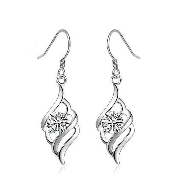 NEUE Frauen, die Ohrringe recht weißes / purpurrotes Amethyst CZ-Edelstein-925 Sterlingsilber-Damen Huggie Bolzen-Ohrringe Wedding sind