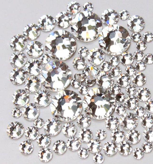Top Quality SS3-SS20 Crystal Clear White Glass Glue Fixed Non Hotfix  Flatback Rhinestone Nail Art Decoration Clothing DIY Rhinestones Nail Art  Rhinestones ... 7dcaa598e9e8