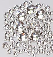diamantes de uñas al por mayor-De calidad superior 1440 pc SS3-SS20 cristalino / blanco pegamento de vidrio fijo no Hotfix Flatback Rhinestone decoración del arte del clavo ropa DIY